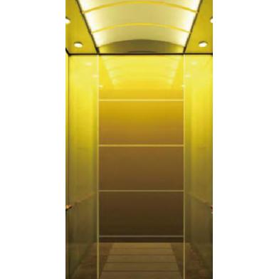 吊顶钦金镜不锈钢聚金沙玻璃乘客电梯