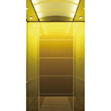 浙江吊顶钦金镜不锈钢聚金沙玻璃乘客电梯