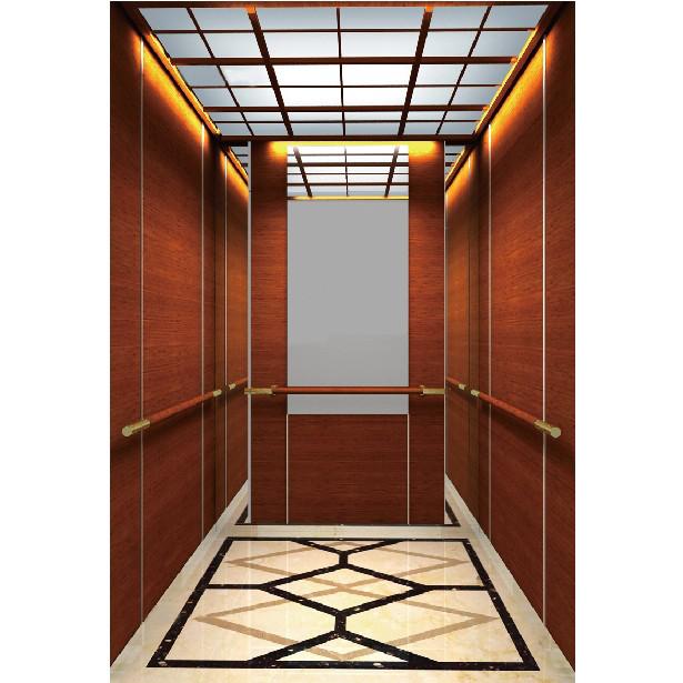 浙江吊顶钦金镜面不锈钢木纹乘客电梯